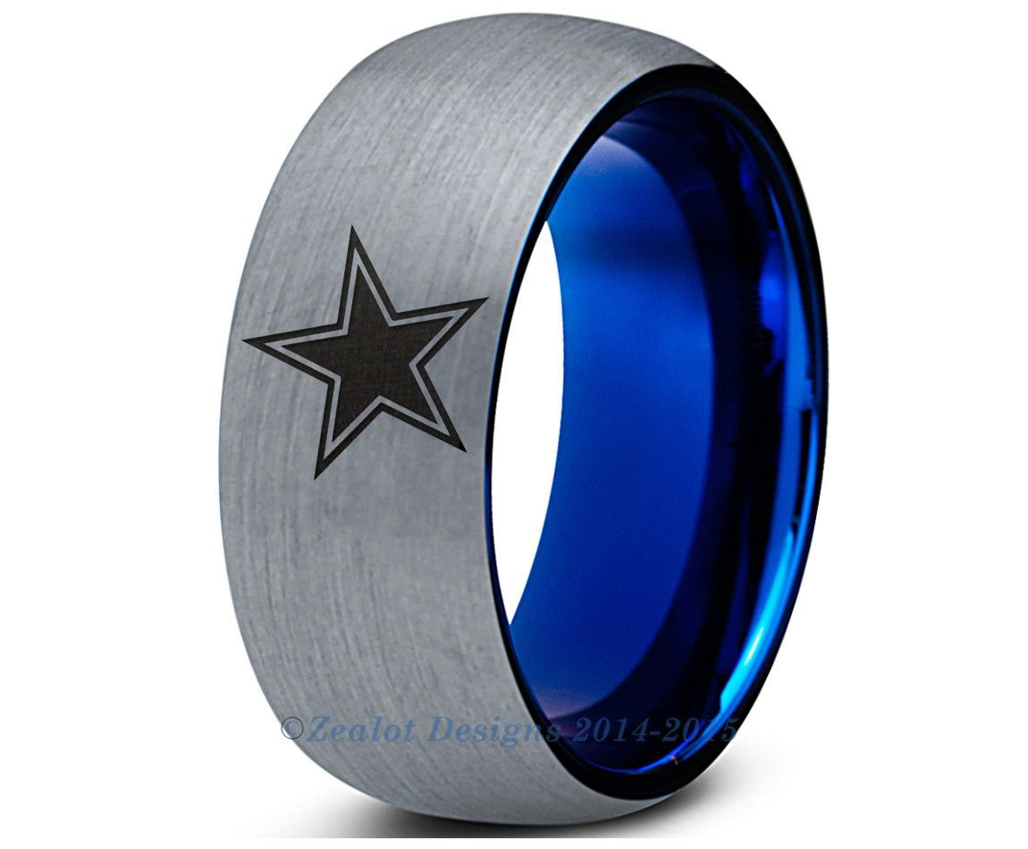 custom mens wedding bands Dallas Cowboys Blue Tungsten Wedding Band Ring Mens Womens Brushed Dome Cut NFL Sports Fan Texas