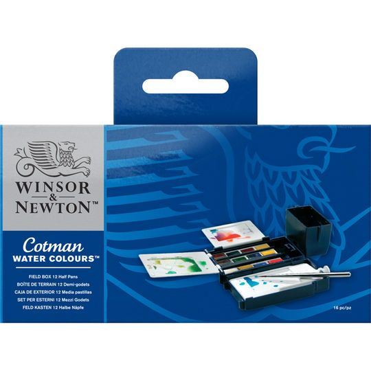 Winsor Newton Cotman Watercolor Field Box Set 12 Half Pans