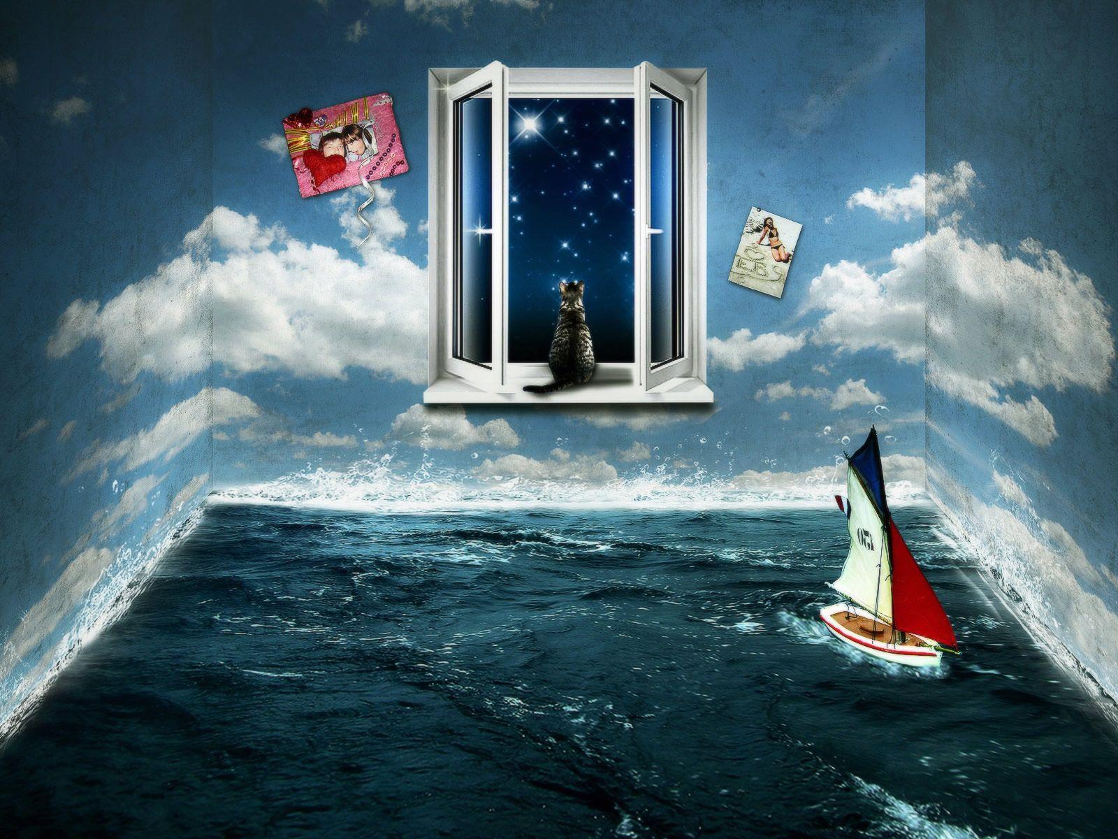 3D Sea In A Box Livingroom Wallpaper  Photomontages  Pinterest Fair Best Living Room Wallpaper Designs Decorating Design