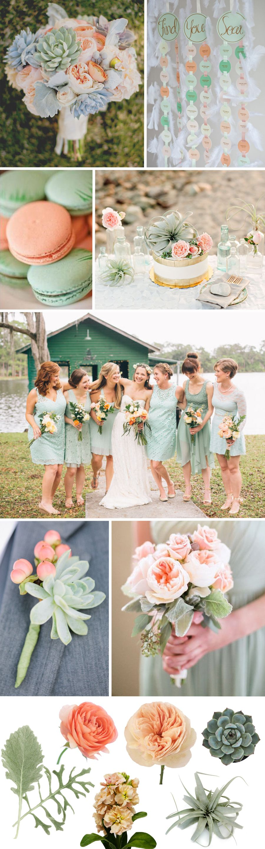 Fiftyflowers Peach Sage Wedding Inspiration Color Schemes June Colors