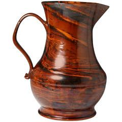 English pottery agateware pitcher mid 18th century