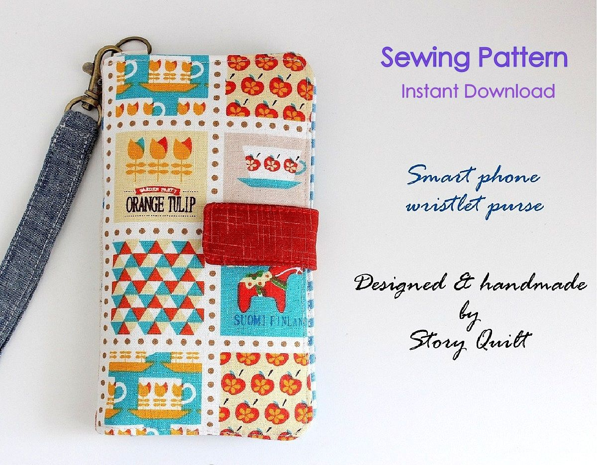 Easy pattern | Cell phone wallet | PDF Sewing Pattern | Gadget Pouch ...