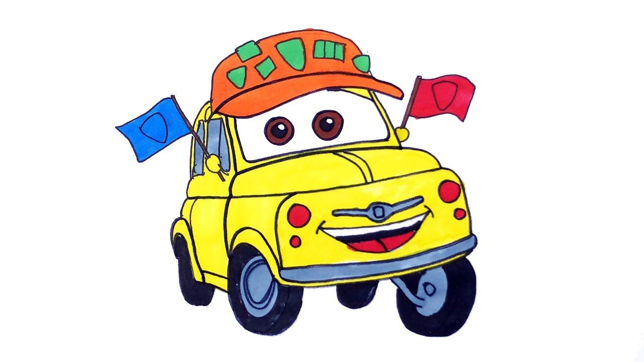 Disney Pixar Cars How To Draw And Color Car Luigi Car Coloring Pages Disney Pixar Cars Pixar Cars Cars Coloring Pages [ 720 x 1280 Pixel ]