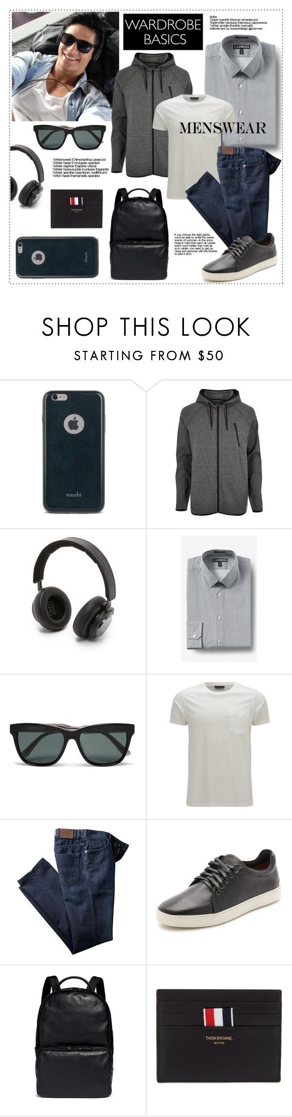 """Menswear: Wardrobe Basics"" by pat912 ❤ liked on Polyvore featuring Moshi, River Island, B&O Play, Express, Bottega Veneta, Belstaff, rag & bone, Giorgio Armani, Thom Browne and mens"