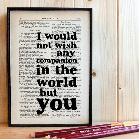 Wedding Gift Quotes Sayings: Wedding Gift Romantic Quote Typographic Art On Vintage