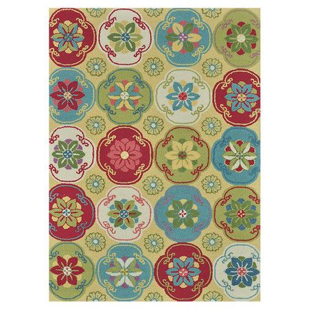 Hand Hooked Rug With A Floral Medallion Motif Product