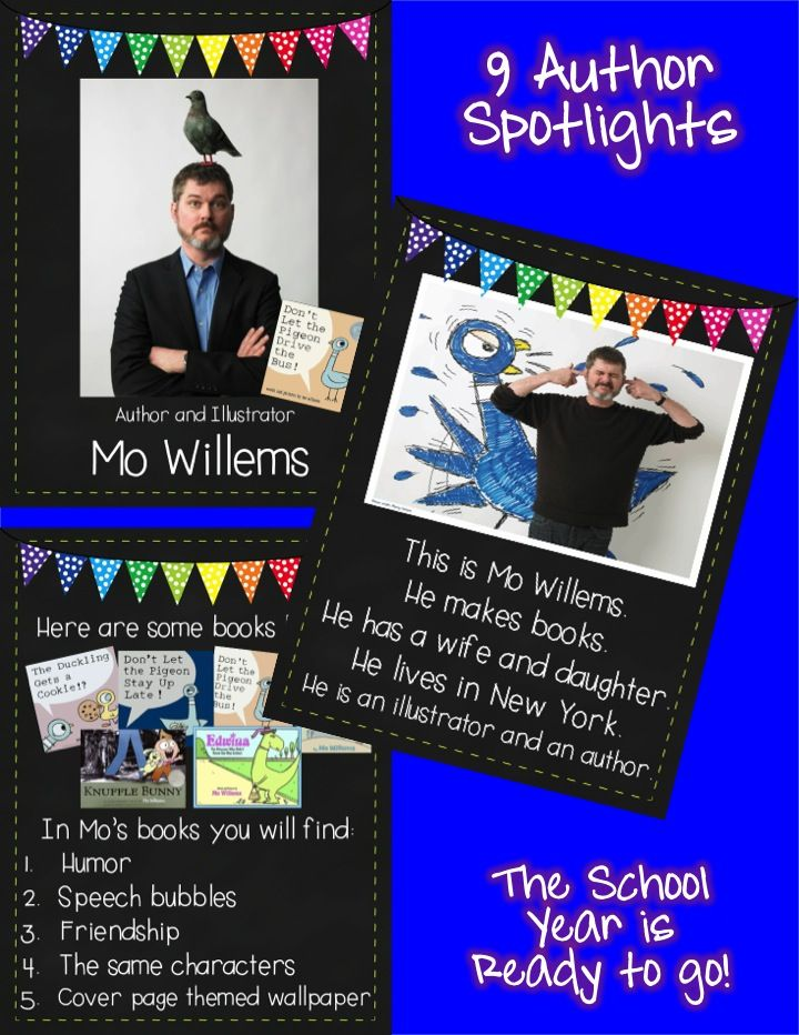 A must have for author studies all year long! http://www.teacherspayteachers.com/Product/Author-Spotlight-of-the-Month-School-Year-Pack-1234902