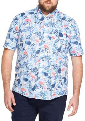 IZOD Mens Dockside Tropical Print Chambray Button Down Shirt