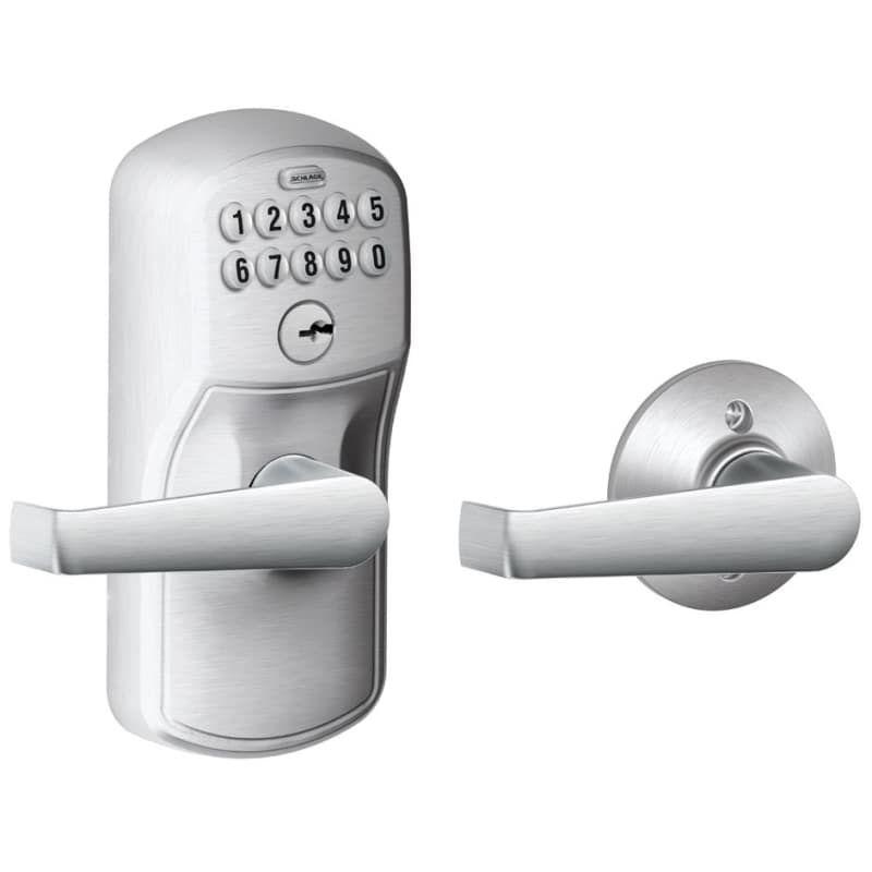 Schlage Fe575 Ply Ela Keypad Entry And Auto Lock Electronic Leverset With Elan L Satin Chrome Leverset Keyless Entry Electronic Door Levers Entry Door Locks Electronic Deadbolt