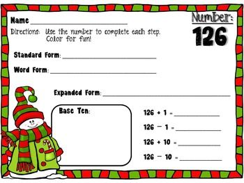 Christmas Place Value Small Pack (standard form, expanded form, base ten, simple addition).