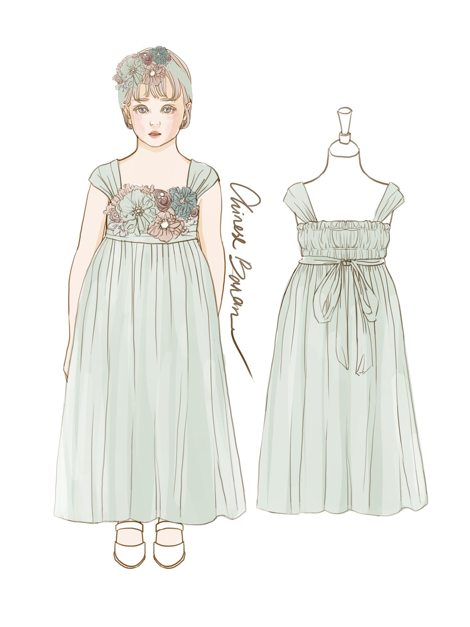 2015 Dusty shale Junior Bridesmaid Dress, Double Straps Flower Girl ...