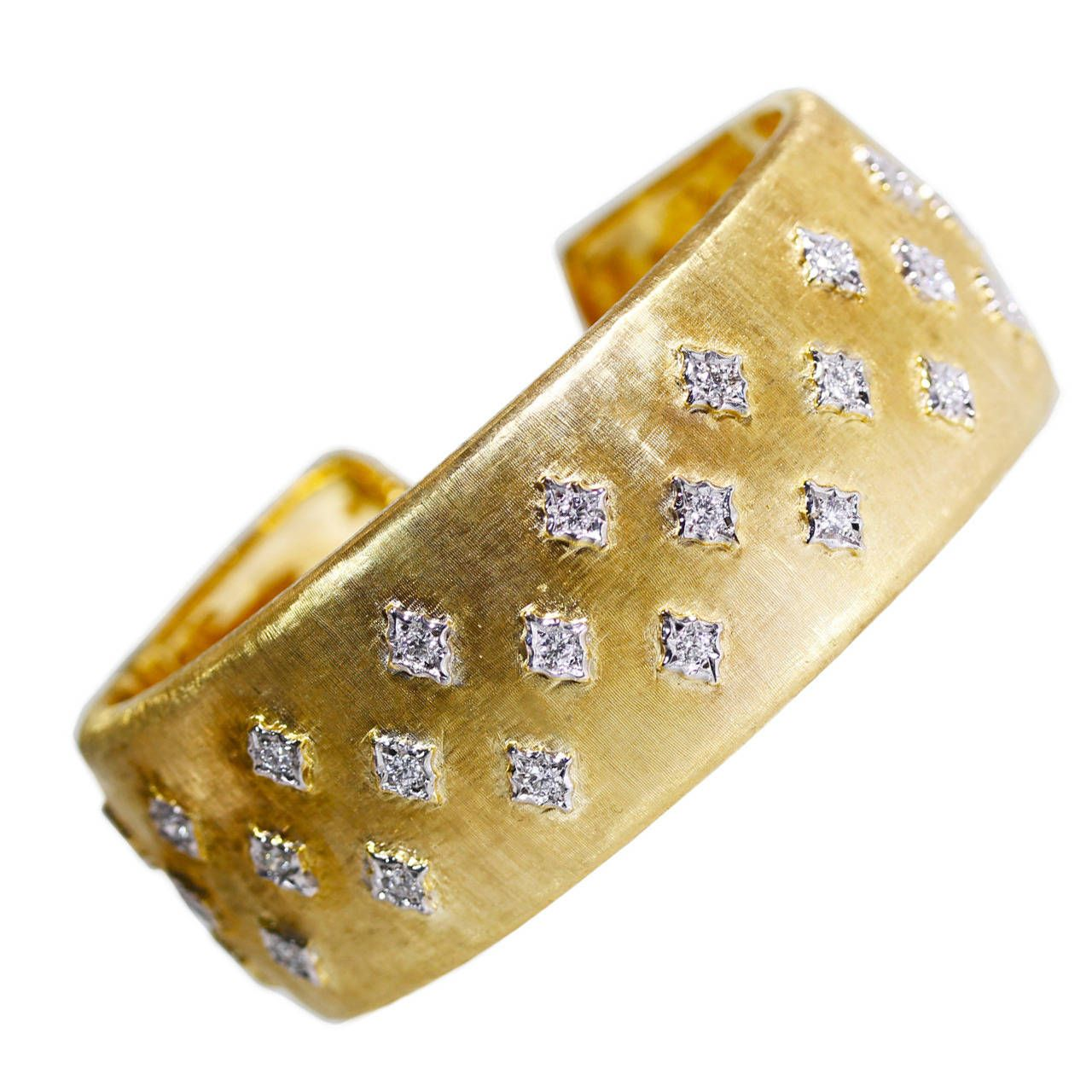 Buccellati Diamond Gold Cuff Bracelet   From a unique collection of vintage cuff bracelets at https://www.1stdibs.com/jewelry/bracelets/cuff-bracelets/