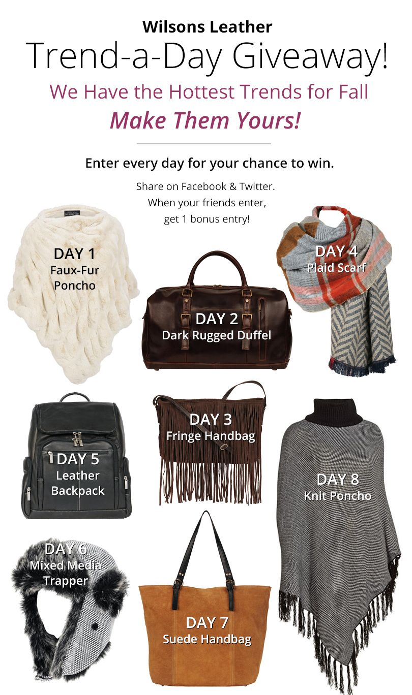 9/8/15 Enter Wilsons Trend a day #giveaway!!  #Fashion http://woobox.com/9uqqg3/ftclrf