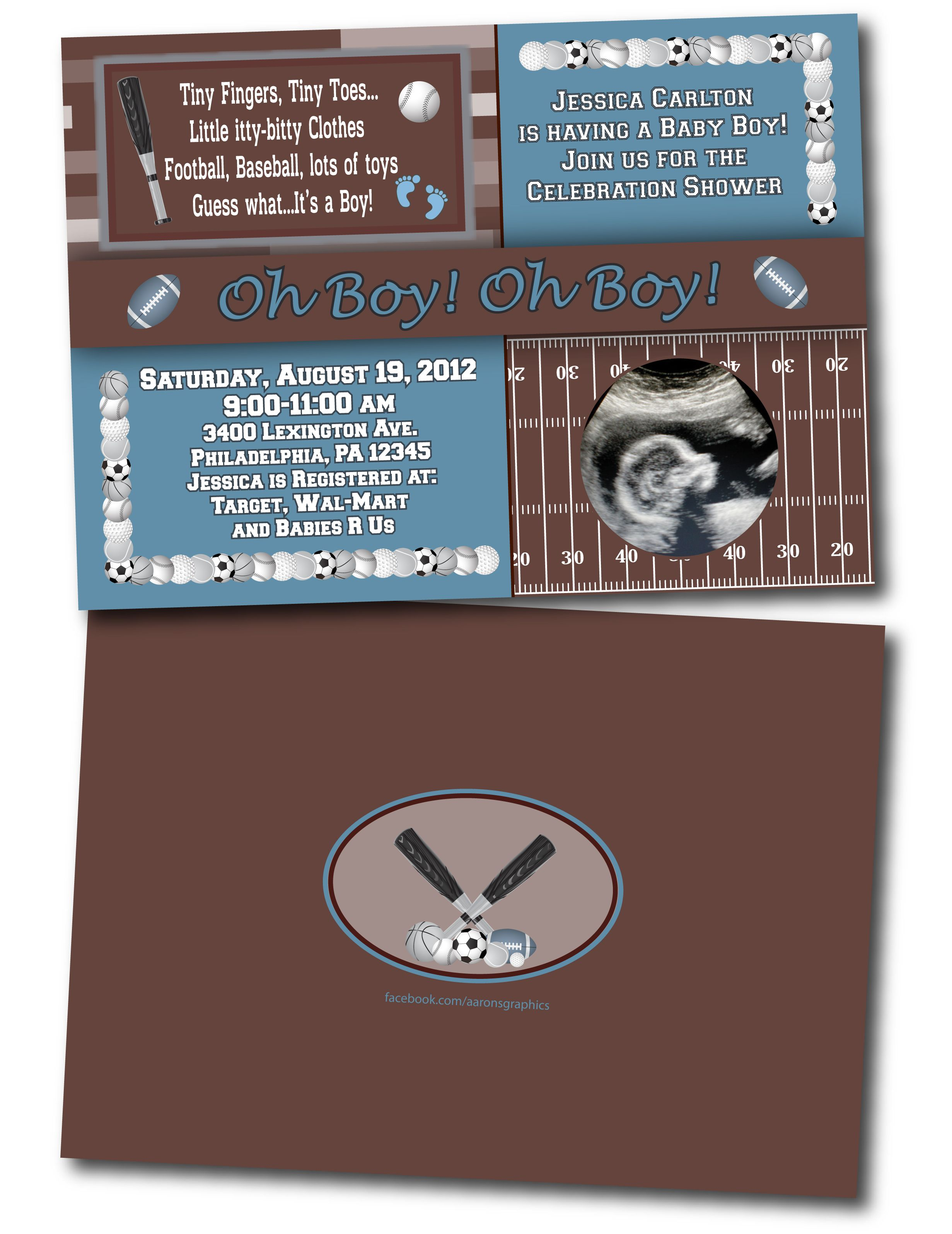 Sports Baby Shower Invitation Get More Information At Facebookcomaaronsgraphics Or
