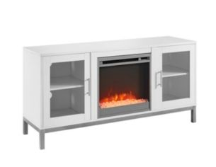 52 Avenue Wood Fireplace Tv Console With Metal Legs White