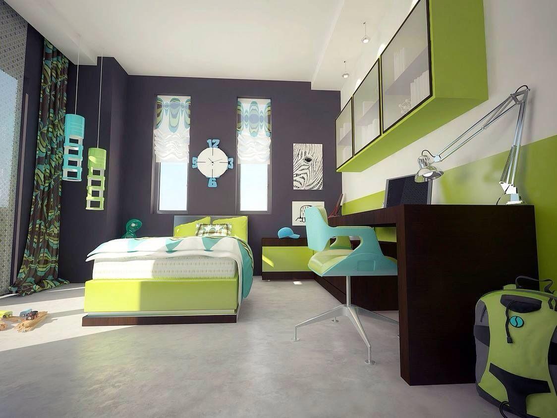 Boys bedroom green accents