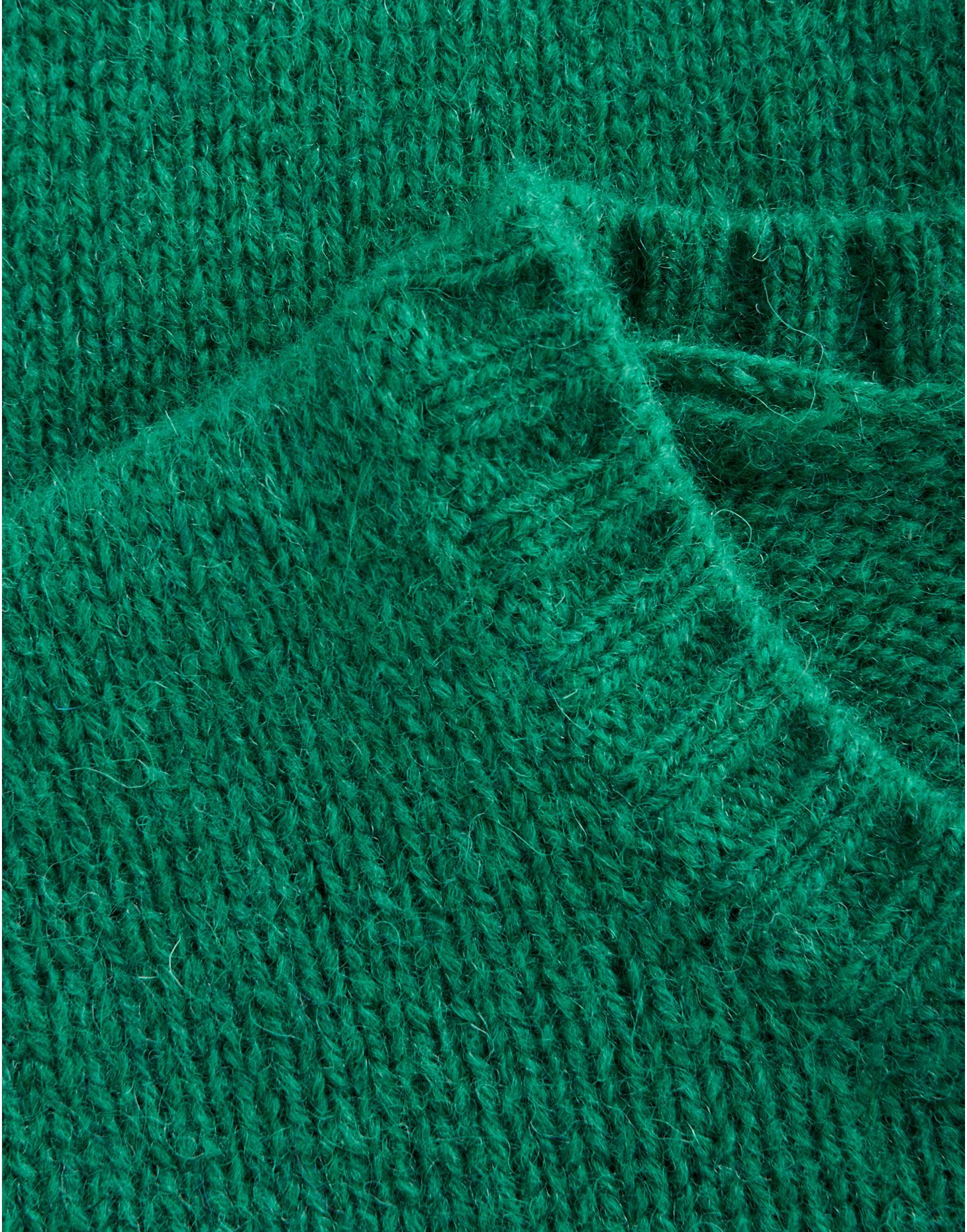 Bottle green woolly jumper.