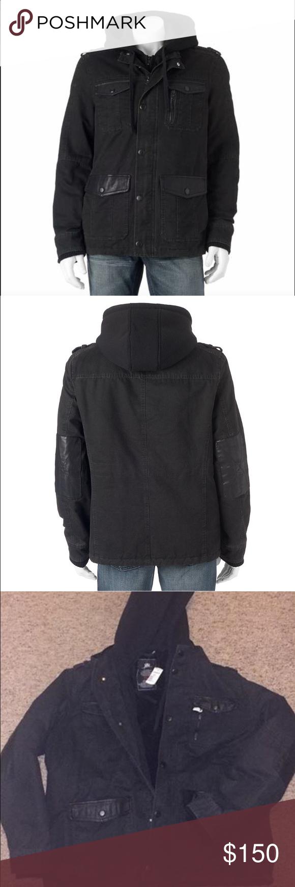 ❗️LOWEST❗️NWT Rock & republic winter coat Brand new rock & republic winter coat. 100% cotton, faux leather, and faux fur interior. Double zipper with hood. Size xxl mens. Rock & Republic Jackets & Coats