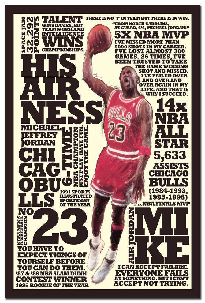 4.49 - Michael Jordan Slam Dunk Motivational Quotes Art Silk Poster 13X20  20X30