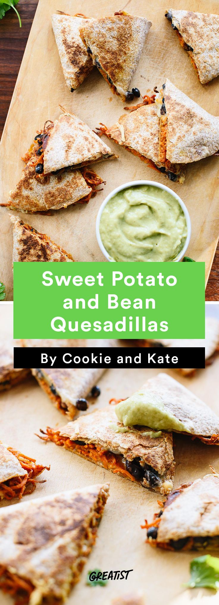 1. Sweet Potato and Bean Quesadillas #healthy #gameday #recipes http://greatist.com/eat/game-day-recipes-that-wont-leave-you-in-a-food-coma