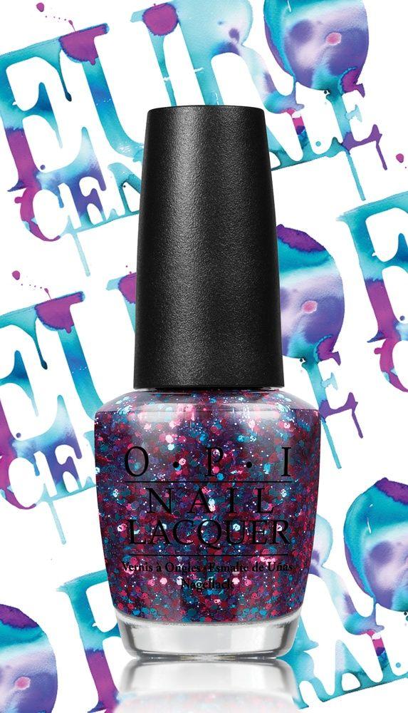 Euro Centrale de OPI Una combinación de glitter en azul y rosa para ...