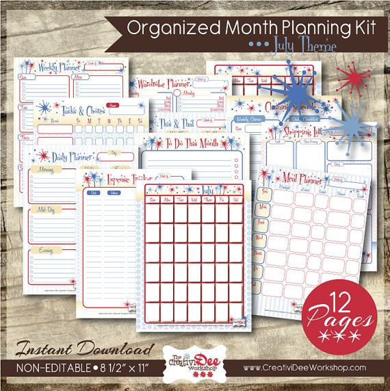 Organized Month Printable Planner - July - 12 pages - Meal Planner
