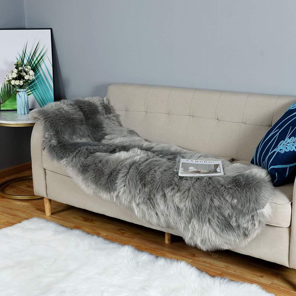 Carvapet luxury soft faux sheepskin couch seat cushion