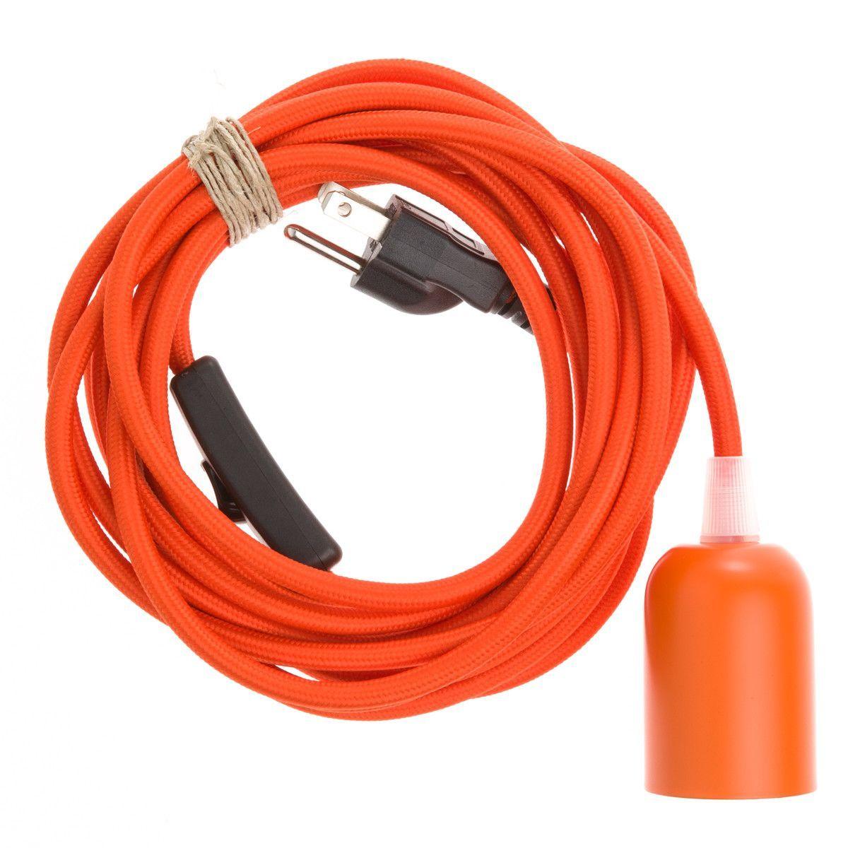 Metal plugin pendant light orange from color cord company craft