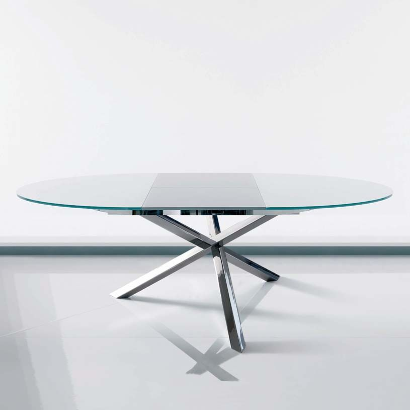 Round extending dining table glass furniture pinterest for Extendable glass dining table