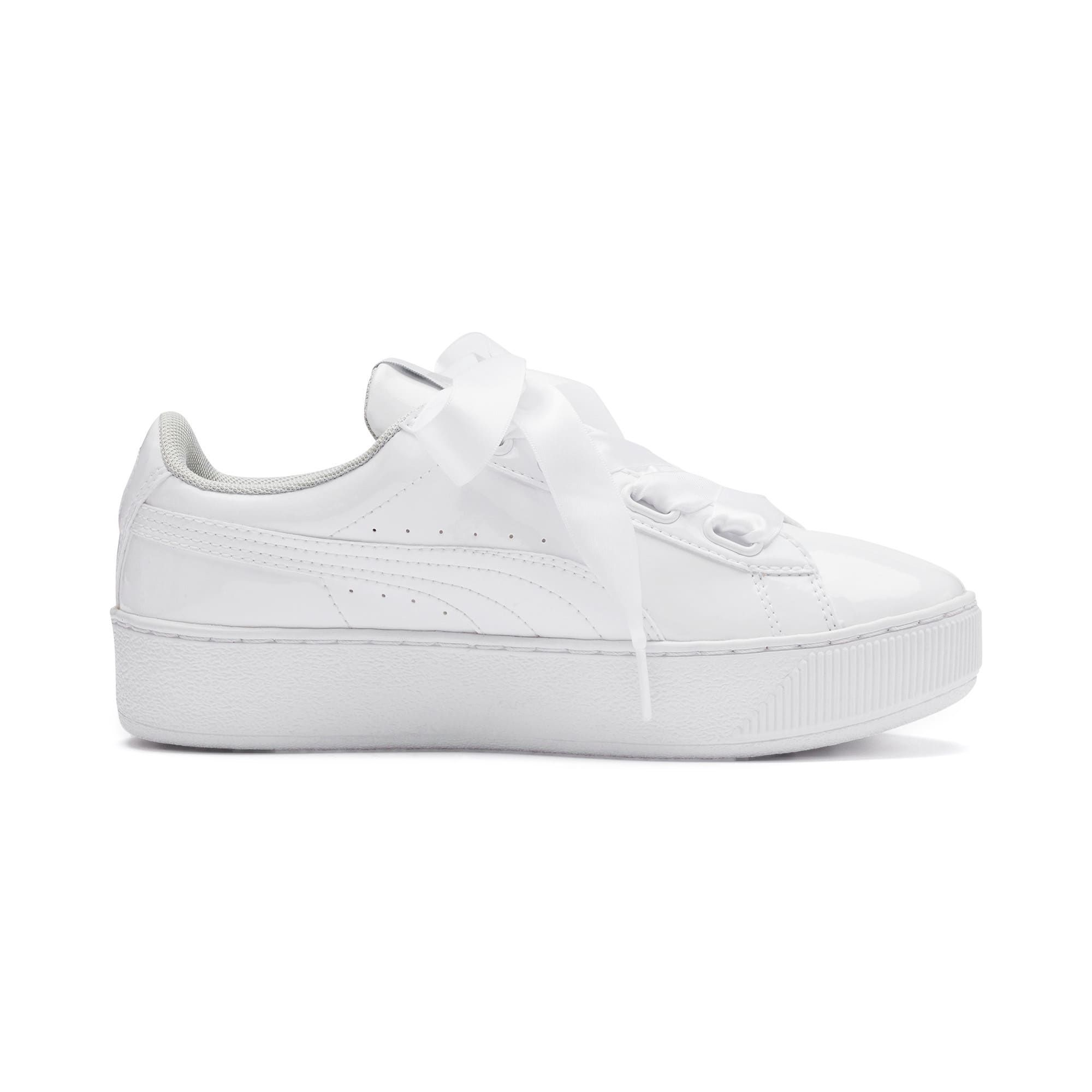 PUMA Vikky Platform Ribbon Patent Girls' Trainers in White size 4.5 #howtomakeabowwithribbon
