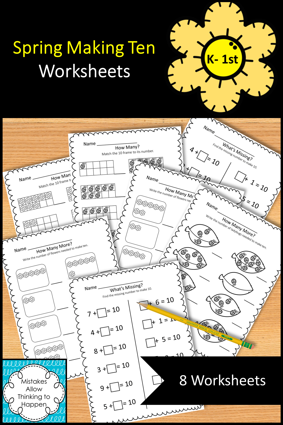 Spring Making Ten Worksheets In