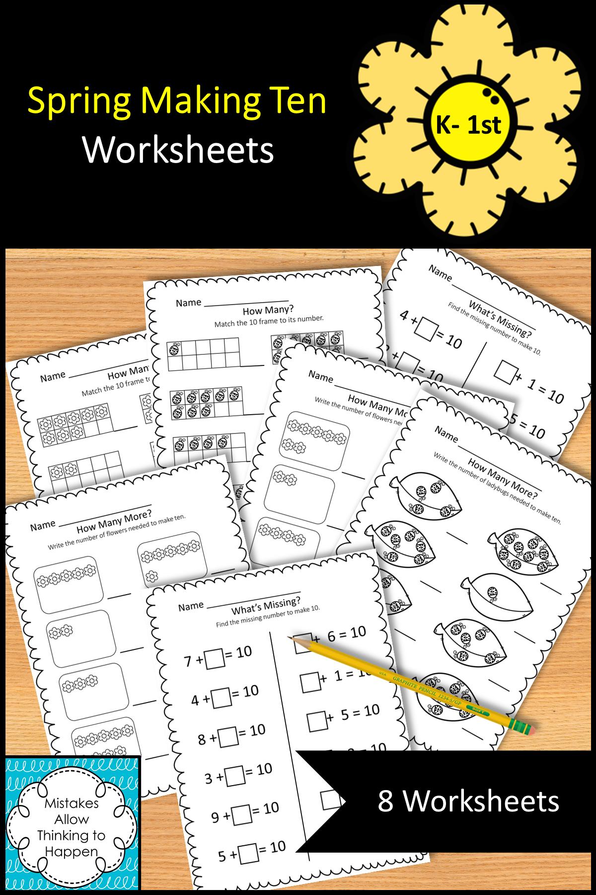 Spring Making Ten Worksheets   Math for 1st graders [ 1800 x 1200 Pixel ]