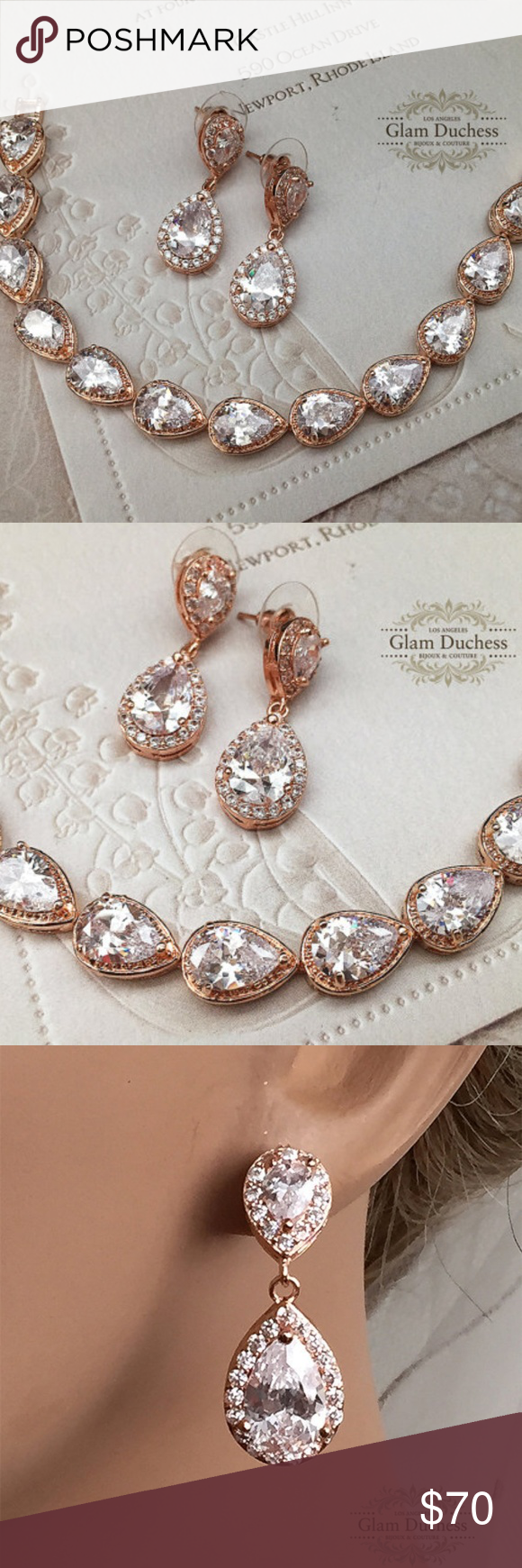Rose gold teardrop cz crystal bracelet earring set my posh picks