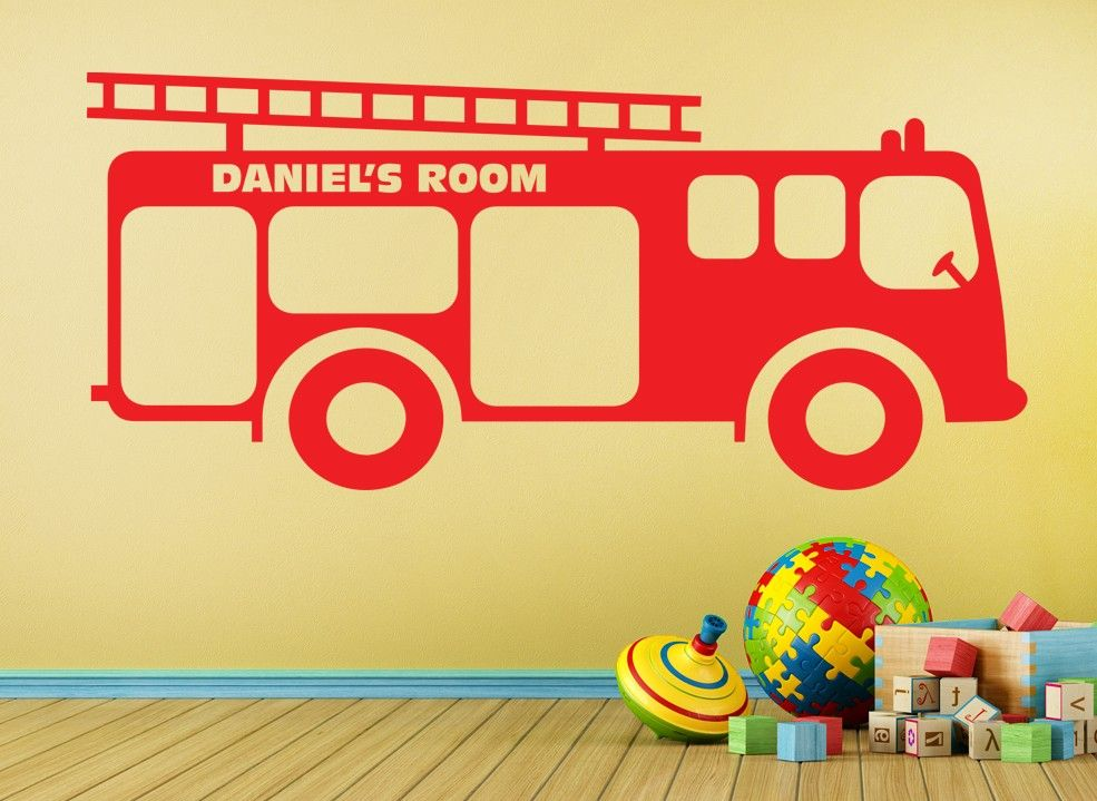 Personalised Fire Engine Wall Sticker | Noah\'s room | Pinterest ...