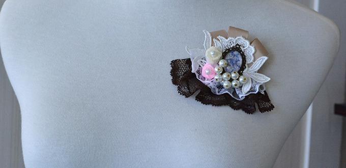 Comment faire une broche bon marché avec dentelle et plerles de culture - Henry Craft Jewelry