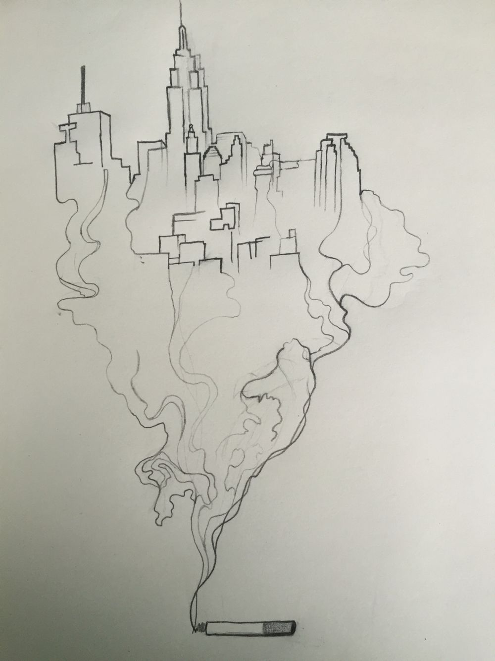 Smoking city sketch | ...