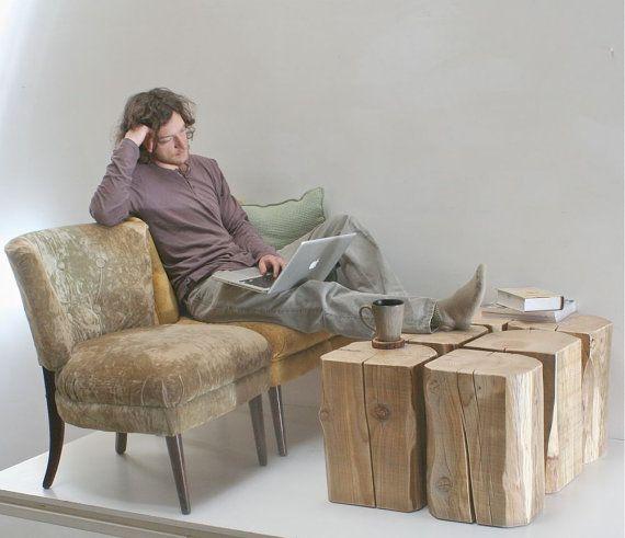 Kinsella Coffee Table: Reclaimed Wood Timber Coffeetable Stool Seat