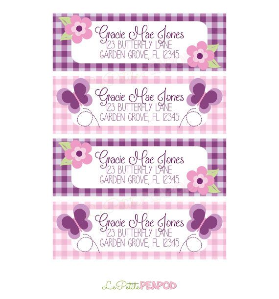 Kids Address Labels - Childrens Stationary - 12 Address Labels  Pink and Purple gingham and by LePetitePeaPod