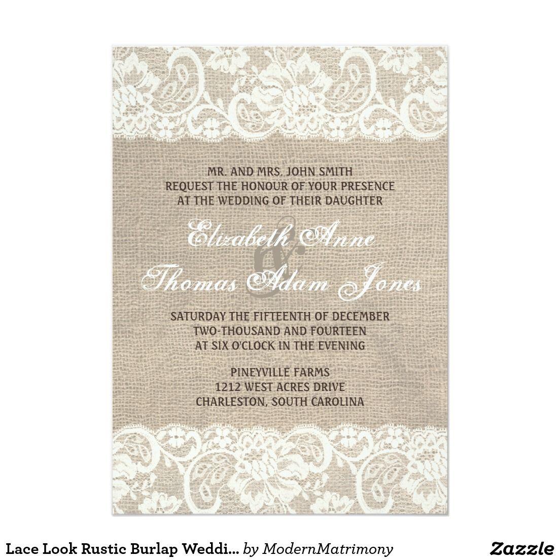 Lace Look Rustic Burlap Wedding Invitation