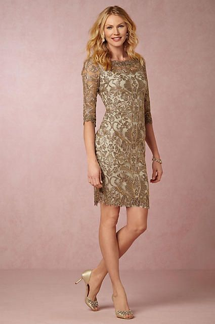Gold lace sheath dress with sleeves for a wedding guest or Mother of ...