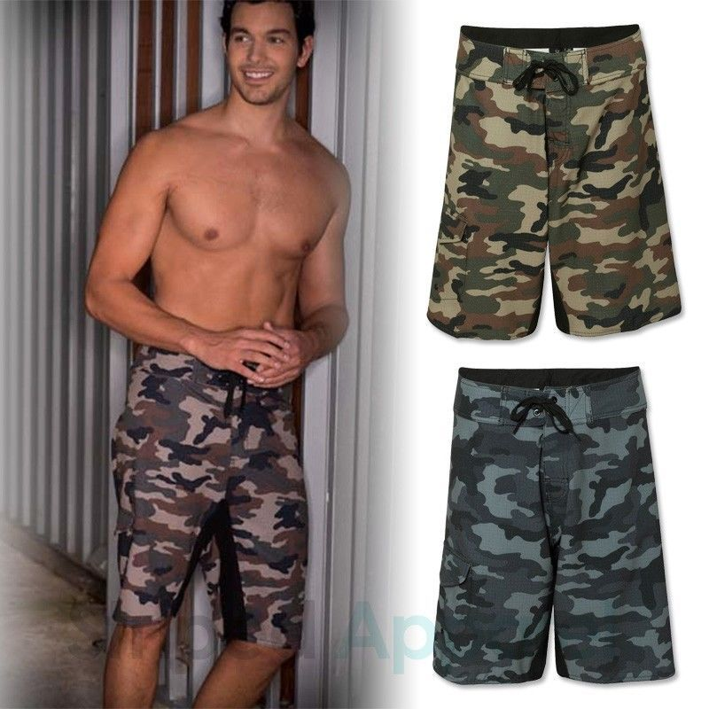 c6094e28d0 Burnside Mens Camouflage Board Shorts 30 40 Diamond Dobby Camo Swim Trunks  B9371 | eBay