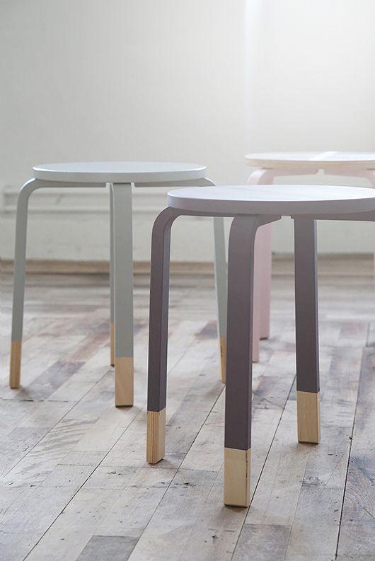 diy painted ikea stools ideas diy pinterest lackieren gold und stuhl. Black Bedroom Furniture Sets. Home Design Ideas