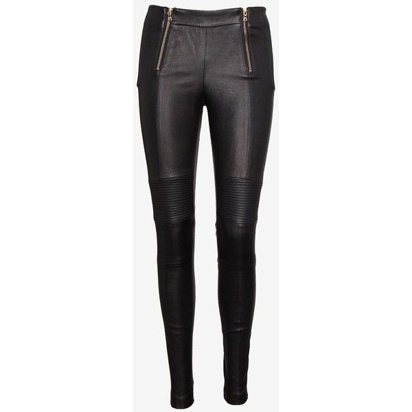 J Brand Ready-to-Wear Zipper Detail Leather Pant: Black ($1,695) ❤ liked on Polyvore featuring pants, leggings, bottoms, calças, skinny crop pants, j brand pants, leather pants, zip pants and leather zipper pants