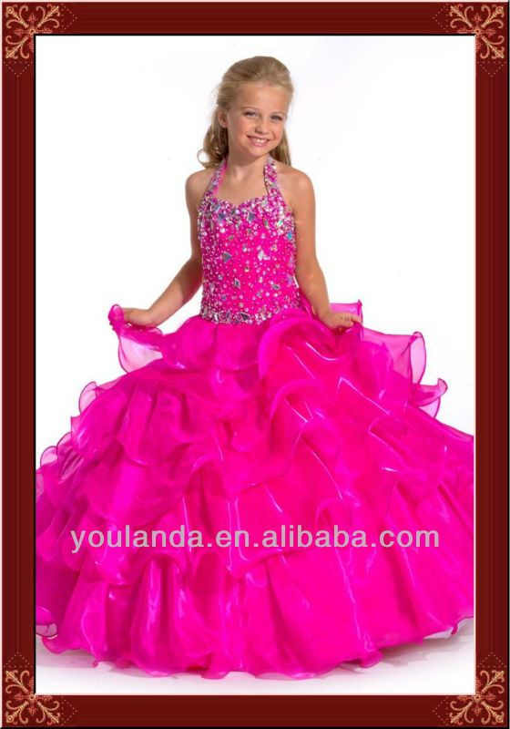 Lovely Ball Gown Halter Long Beaded Ruffled Girls Puffy Dresses ...