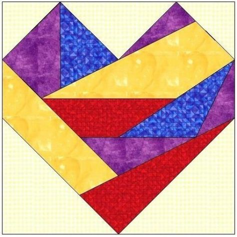 Crazy patchwork heart My crazy heart foundation paper piecing pattern 3 sizes Digital download MCH02