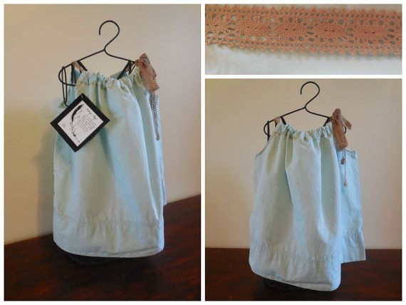Mint green pillowcase dress 12 months by VintageSkys on Etsy, $15.00