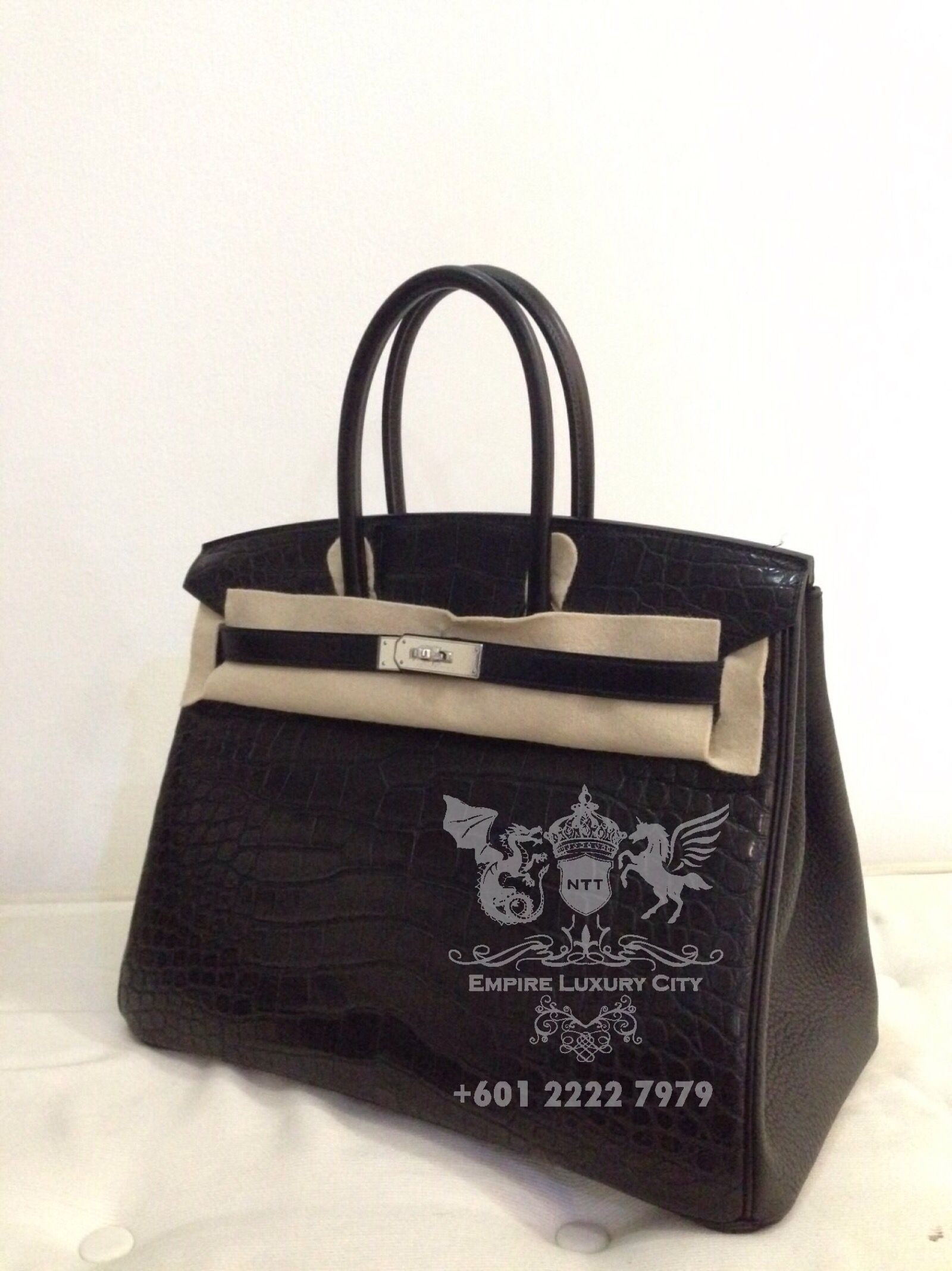 6b2d88588e1 ELC CROC DEAL 4 TODAY! NEW HERMES BIRKIN 35 CROC TRILEATHER CROCODILE  CLEMENCE BOX IN