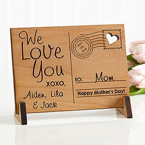Sending Love To Mom Personalized Wood Postcard   Craft, Cards and ...