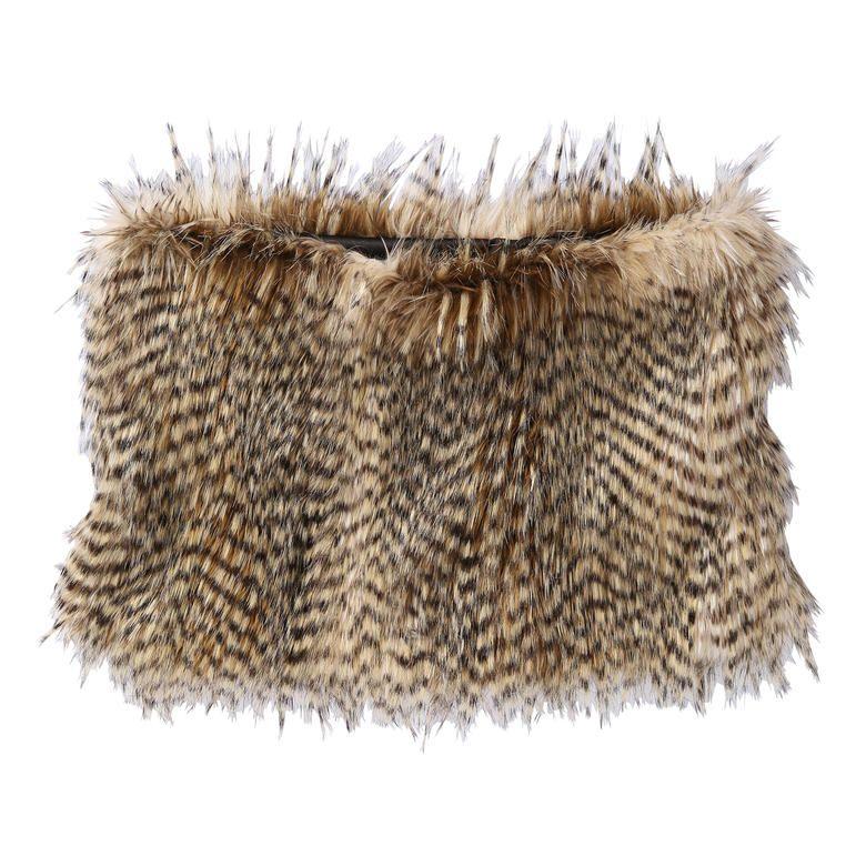 Faux Fur Circle Scarf in Brown from Joe Fresh