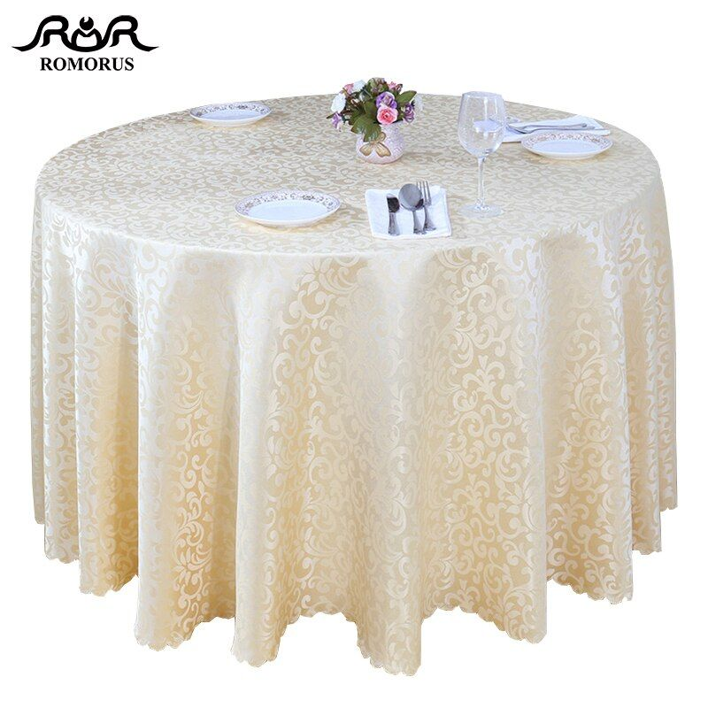 Romorus Luxury Round Tablecloth Gold White Table Covers For